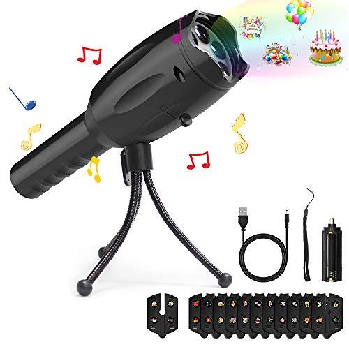 Musical Projektor Taschenlampe Music LED Kinder USB Kabel Stativ für Weihnachten (schwarz)
