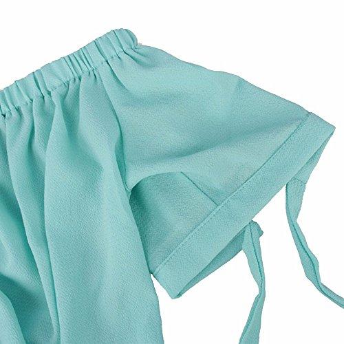 Looseplus Damen Bandeau Schleife Jumpsuit Kurzarm Macaron Farbe Rompers Damen Weit Beine Casual Spielanzug Jumpsuits(RW,L) Hellgrün