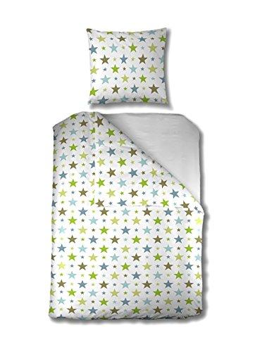 MistralHome - Parure de Lit Enfant - Housse de Couette Forme Bouteille + Taie d'Oreiller Forme Sac - Motifs Etoile - Imprimé Vert Fond Blanc - 100% Coton Renforcé (80_x_120_cm)