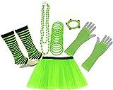 A-Express 80er Damen Neon Tütü Rock Beinstulpen Fischnetz Handschuhe Tüll Fluo Ballett Verkleidung Party Tutu Rock Kostüm Set (36-44, Grün)
