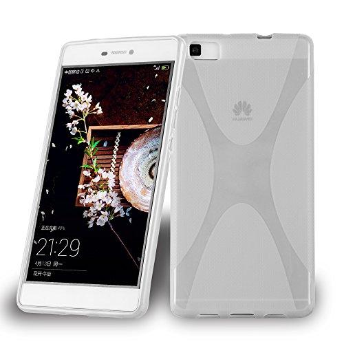 Cadorabo Hülle für Huawei P8 MAX - Hülle in HALB TRANSPARENT – Handyhülle aus flexiblem TPU Silikon im X-Line Design - Silikonhülle Schutzhülle Soft Back Cover Case Bumper