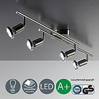 Lámpara de techo LED I Foco giratorio I Incluye 4 bombillas de 3 W GU10 I Lámpara de techo orientable I Dormitorio I Níquel mate I Color de la luz blanco cálido I 230 V I IP20