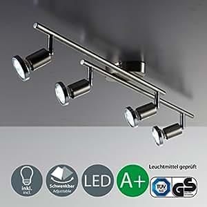 Faretti LED da soffitto orientabili I plafoniera moderna da soffitto per l'illuminazione da interno I 4 luci I corpo metallo, color nickel I incl. lampadine da 3W I 230V I GU10 I IP20
