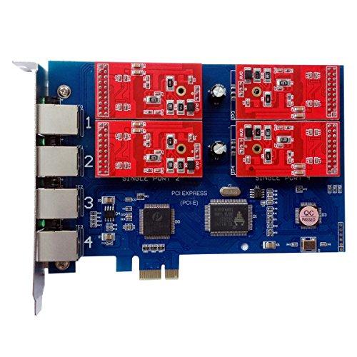 tdm410e mit 4FXO Ports, Asterisk Karte, PCI-e-Anschluss FXO Karte für VoIP PBX Asterisk PABX (Fxo-port)