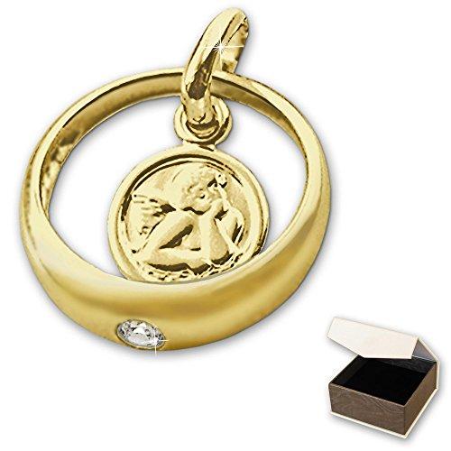 CLEVER SCHMUCK Goldener Taufring Ø 12 mm Engel rund mit Zirkonia weiß glänzend 333 GOLD 8 KARAT im Etui