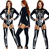 GYH Damen Skelett Knochen Drucken Jumpsuit Halloween Kostüme Bodysuit Halloween Party Sammlung Bodycon(Größe10 – 12),M