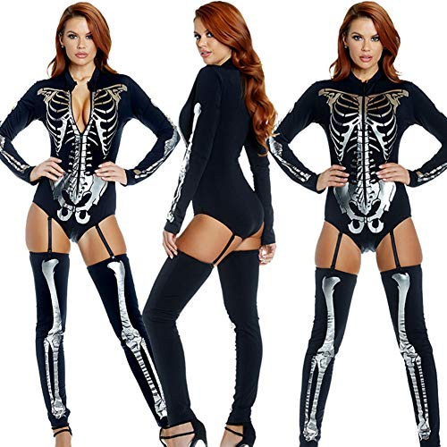GYH Damen Skelett Knochen Drucken Jumpsuit Halloween Kostüme Bodysuit Halloween Party Sammlung Bodycon(Größe10 - 12),M - Sammlung Bodysuit