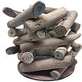 LS-LebenStil Holz Windlicht Glaseinsatz Teelichthalter Kerzenständer Braun 20x18cm B-Ware