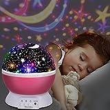UBEGOOD LED Star Projektor Projektor Lampe 360° Grad Rotation Sternhimmel Projektor 4 LED Lampen 8 Licht Modus Farbwechsel Kinderlampe Nachtlampe Schlafzimmer Nachtlicht für Weihnachten - Pink