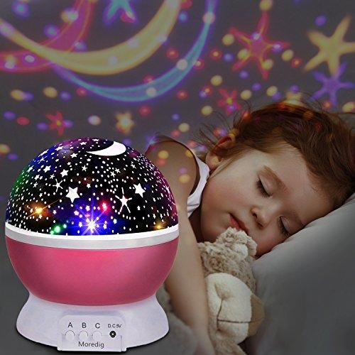 Stelle Lampada,UBEGOOD Proiettore Stelle Luce Notturna per Bambini con 4 Colori Lampadine LED 3 Offrire 8 Combinazioni Diverse Cosmos Stella lampada Ruotabile Proiettore Luci per Regali-Rosa