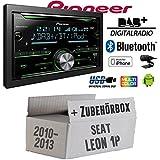 Seat Leon 1P FL 2DIN - Pioneer FH-X840DAB 2-DIN - Bluetooth | DAB+ Digitalradio | CD | USB | Spotify für iPhone | Autoradio - Einbauset