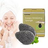SPUGNA VISO KONJAC -100% naturale 2 pz con carbone di bambù alcalino, vitamine e minerali GAINWELL