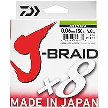 Daiwa J-Braid 8 Braid 0.13mm, 8.0kg / 18.0lbs, 300m verde scuro, lenza di pesca intrecciata rotonda