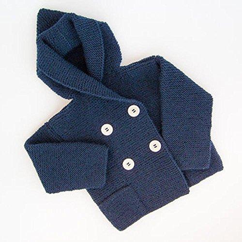 FeiliandaJJ Baby Jacke Jungen Kinder Herbst Winter Stricken Strickjacke Mit Kapuze Mantel Warme Kleidung Baby Coat Boy 90-120CM (100cm (2-3T), Marine)