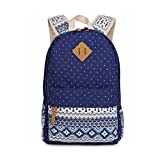 Evay Evay Canvas Rucksack Vintage Bunten Streifen Polka Dot Schultasche für Jugend Teenager Mädchen und jungen leicht süß wasserdichte lässig Daypack Schultertasche Rucksack Blau