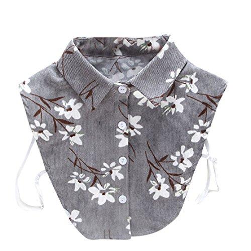 Loveso Frauen Neue Bluse Abnehmbare Gefälschte falsche Kragen Baumwolle Revers Shirt Kragen Rose Weiß (One Size, Grau(Drucken))