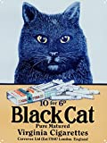 Tin Sign featuring Eye Catching Vintage Advertising Art for Black Cat Cigarettes, a Brand of Carreras Tobacco Company 30x40cm