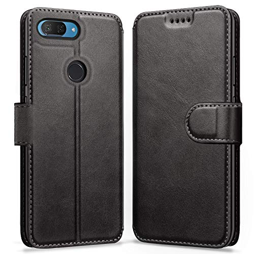 "ykooe Funda para Xiaomi Mi 8 Lite (Negro) PU Cuero Flip Folio Carcasa para Xiaomi Mi 8 Lite (6.26"")"