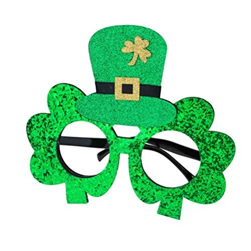 Amosfun Grünen Klee Hut Brille St. Patrick's Day Dekorationen Tanz lustige Party Makeup Brillen Maskerade Party Kostüme Zubehör für St. Patrick's Day Party Supplies