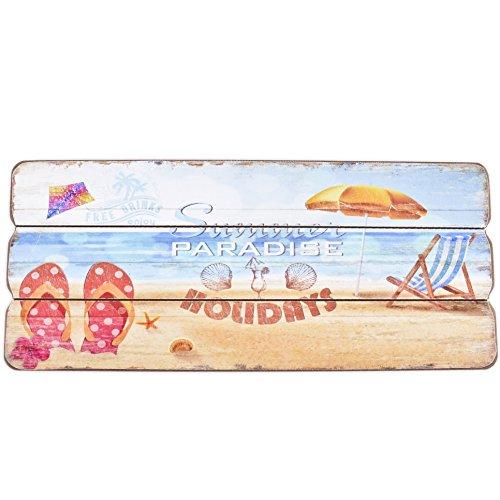 Dadeldo Living & Lifestyle Holzschild Summer Paradise Flip Flops Design MDF 15x35cm bunt Wand-Bild Deko (Flip-flop-bilder)