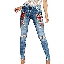 ZKOO Mujer Rose Bordado Vaqueros Flacos Mezclilla Pantalones Jeans Leggings Moda