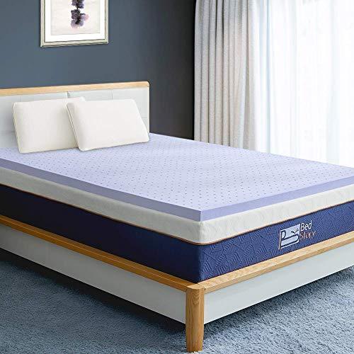 BedStory Matratzenauflage mit Memory-Schaum, 5 cm, Lavendelfarben, mit CertiPUR-US Queen 2 Inch - Queen 2 Memory-schaum