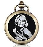 Unendlich U sexy Marilyn Monroe Mano ascensore meccanico orologio da tasca foto medaglione bianco quadrante orologio scheletro maglione collana, entrambe le catene