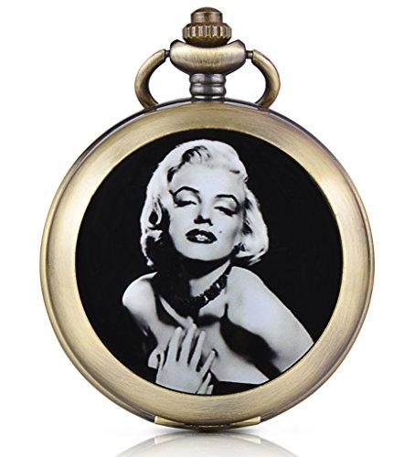 Unendlich U Sexy Marilyn Monroe Handaufzug Mechanische Taschenuhr Foto Medaillon Weißes Zifferblatt Skelettuhr Pullover Halskette, beide Ketten
