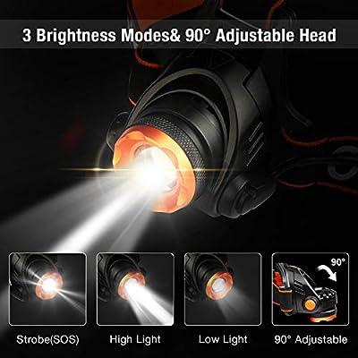 OMERIL LED Stirnlampe Wasserdicht LED Kopflampe 2000 Lumen Super Hell USB Wiederaufladbare Headlight, 3 Helligkeiten, 90° Verstellbar, Fokusverstellbar, mit Hinten Warnlicht für Radfahren, Joggen von OMERIL