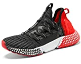 Garçon Fille Chaussure de Course Chaussures de Outdoor Sneakers Mode Basket Chaussure de Course Sport Walking Shoes Running Compétition Entraînement Chaussure, 6-noir/Rouge, 39 EU