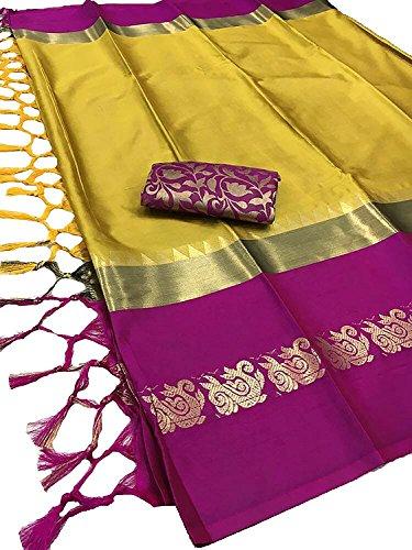 Yeyze Cotton Silk Saree (MP-CS-1_Mustard-Purple_Free Size)