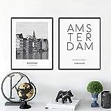 woplmh Paesi Bassi Amsterdam Paesaggio Foto Tela Pittura Foto Arte Parete, Città Poster Amsterdam Coordinate (50x70cmx2 Senza Cornice)