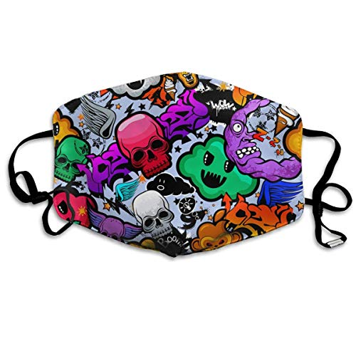 Masken für Erwachsene Waschbare wiederverwendbare MundMaskene, Graffiti Cartoon Bizarre Funky Characters Reusable Anti Dust Face Mouth Cover Mask Protective Breath Healthy Safety
