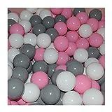 Cristal 100 Bälle 7cm Ø Bällebad viele bunte Farben Baby Kind Spielbälle Kugelbad Blau Türkis Grau Pink Rosa Schwarz Weiss (Rosa, Grau und Weiss)