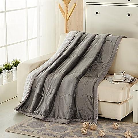 BDUK Coltre spessa coltre di flanella inverno coperte calde composito doppia lino corallo quilt e argento ,180cmx200cm,