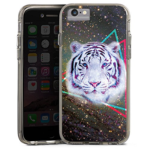 Apple iPhone 7 Bumper Hülle Bumper Case Glitzer Hülle Galaxy Tiger Dreieck Triangle Bumper Case transparent grau