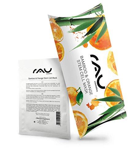 RAU Bamboo & Orange Stem Cell Mask 10er Packung - Vegane Feuchtigkeits Vliesmaske mit Bambus-Extrakt, Grünem Tee, Hyaluronsäure, Aloe Vera -