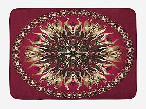 ASKYE Mandala Bath Mat, Ornate Round Floral Frame with Abstract Antique Swirls Vintage, Plush Bathroom Decor Mat with Non Slip Backing, 23.6 W X 15.7 W Inches, Dark Purple Magenta Pale Yellow White Swirl Glass Bowl