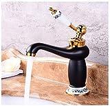 Waschtischarmatur Waschbeckenarmatur Moderne Badezimmer Kupfer Waschtischarmatur Weiß Porzellan Farbe Gold Waschbecken Waschbecken Wasserhähne Einlochmontage Einhebelmischer