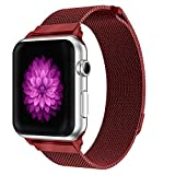 YOUKESI Compatible Apple Watch Armband 42mm, Milanaise Schlaufe Edelstahl Armbänder Series 3/2 / 1, Sport, Edition, Nike+ (rot 42mm)