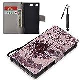 Huphant Sony Xperia XZ1 Compact Hülle, Flip Case Leder [3D Painted Holder Serie] PU Leather Case Wallet Case Magnet Case Book Case Schutzhülle Klappbar für Sony Xperia XZ1 Compact (4,6 Zoll) - Castle