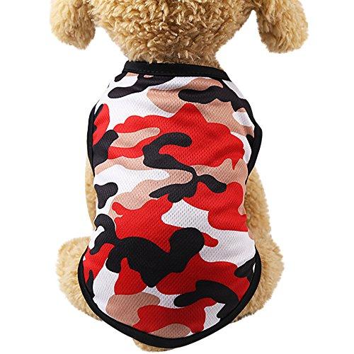 Balock Schuhe Hundebekleidung,Welpen Hund Baumwolle Camouflage Weste, Sommer Baumwolle atmungsaktiv,für Kleinen Hund Teddy,Vollkommen für Das Wandern,Das Joggen (Rot, XL) -