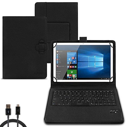 NAUC Tastatur Hülle für TrekStor SurfTab Twin 10.1 Tasche QWERTZ Bluetooth Schutzhülle Keyboard kabellos deutsche Tastatur QWERTZ Layout Case Cover