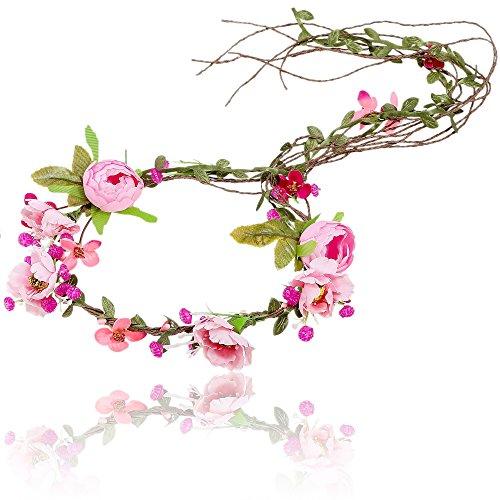 AWAYTR Boho Braut Blume Girlande Stirnband - Frauen Mädchen Einstellbare Baum Rattan Blatt Floral Haar Kranz Hochzeit Fotografie Dekoration (Rosa)