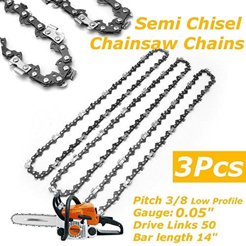 3x Sägeketten 3/8 zoll Sägeketten für Stihl, Pathonor Halbmeißel Ketten, für Stihl MS170 180 171 181 und so weiter. Die Tonhöhe beträgt 0,375. Die mittlere Führungszahndicke beträgt 1,3 mm. Die Anzahl der Abschnitte beträgt 50 Knoten 50 TG / 50DL. Universal Sägeketten 16 Zoll 29 Messer 59 elektrische Kette (Chainsaw Bar)