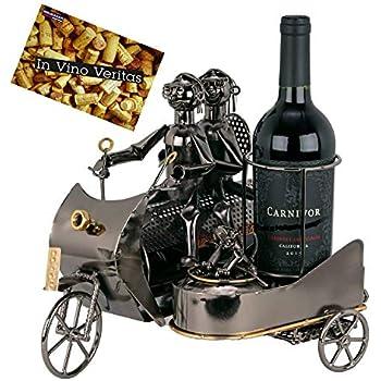 Karte Weinflaschenhalter Paar auf Motorrad mit Hund Metall Geschenk-Idee