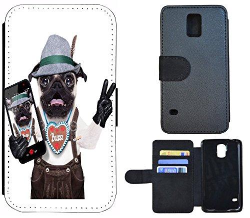 Flip Cover Schutz Hülle Handy Tasche Etui Case für (Apple iPhone 5 / 5s, 1123 Wolf Mond Blau Weiß) 1114 Hund Bayern Lederhose Braun Weiß