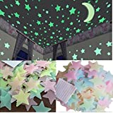Stickonn Multi Colour Fluorescent Glow in The Dark Star Wall Sticker(50 Stars and 1 Moon,Size: 3.8x3.8 cm)