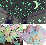 Stickonn Multi Colour Fluorescent Glow In The Dark Star Wall Sticker(60 Stars And 1 Moon,Size: 3.8x3.8 cm)