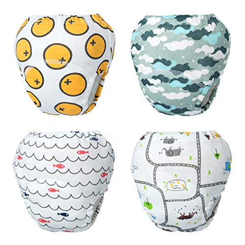 HBselect 4Packs Reusable Potty Training Pants,Cartoon Pattern Cotton Nappy Training Pants Underwear for Baby Boys Girls Toddler Kids- Size S